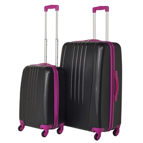 Swiss Case Bold 2Pc Suitcase Set - Black/Pink