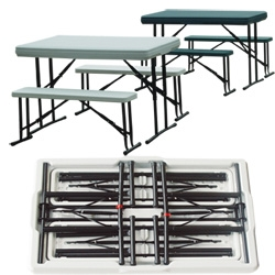Palm Springs Foldable Camping Table & Bench Set
