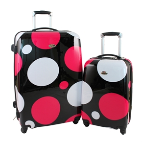 Swiss Case 4 Wheel 2Pc Hard Suitcases PINK DISCO