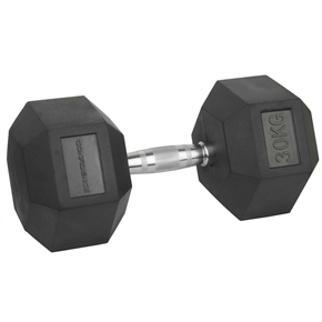 Confidence Fitness 30kg Rubber Hex Dumbbell