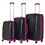 Swiss Case Bold 3Pc Suitcase Set - Black/Pink