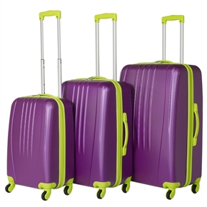 Swiss Case Bold 3Pc Suitcase Set - Purple/Lime