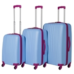 Swiss Case Bold 3Pc Suitcase Set - Blue/Pink