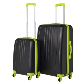 Swiss Case Bold 2Pc Suitcase Set - Black/Neon