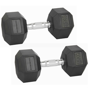 Confidence Fitness 15kg Rubber Hex Dumbbell Set