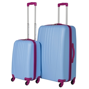 Swiss Case Bold 2Pc Suitcase Set - Blue/Pink