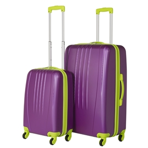 Swiss Case Bold 2Pc Suitcase Set - Purple/Lime