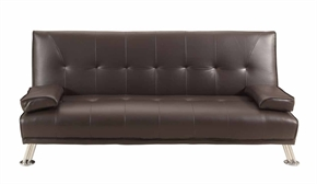 Homegear Faux Leather Deluxe Sofa Bed Brown