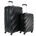 Swiss Case 4 Wheel Wave 2Pc Suitcase Set - Black