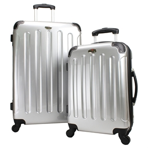 Swiss Case 4 Wheel 2Pc Suitcase Set SILVER