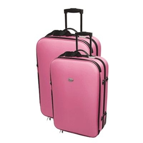 2 Pink Confidence Expandable Suitcases with Wheels
